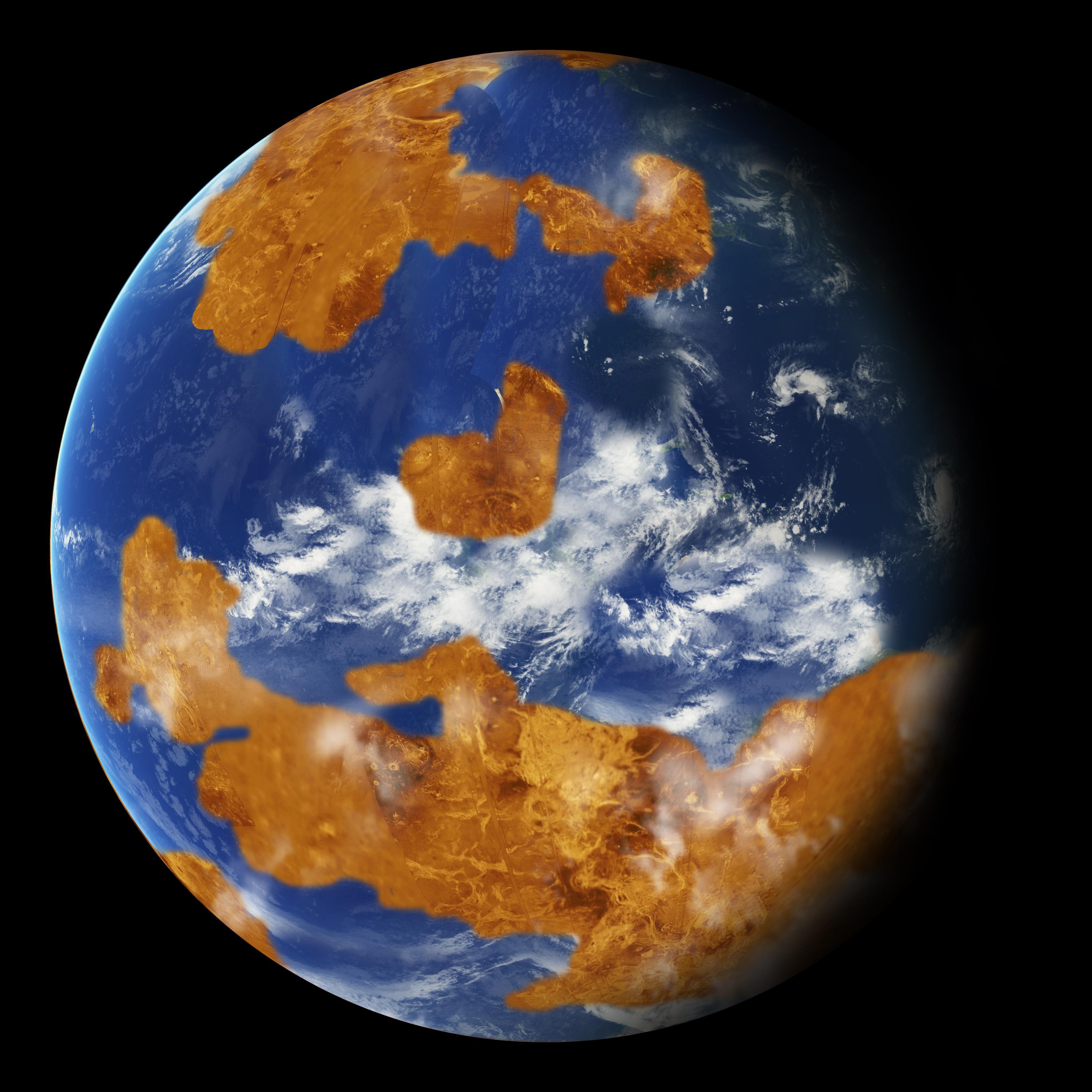 Наблюдения показывают: на Венере, возможно, в далеком прошлом была вода. Шаблон был использован в качестве модели климата на планете, чтобы показать, как грозовые облака могли укрыть древнюю Венеру от сильного солнечного света, что и сделало ее пригодной для жизни. Credits: NASA
