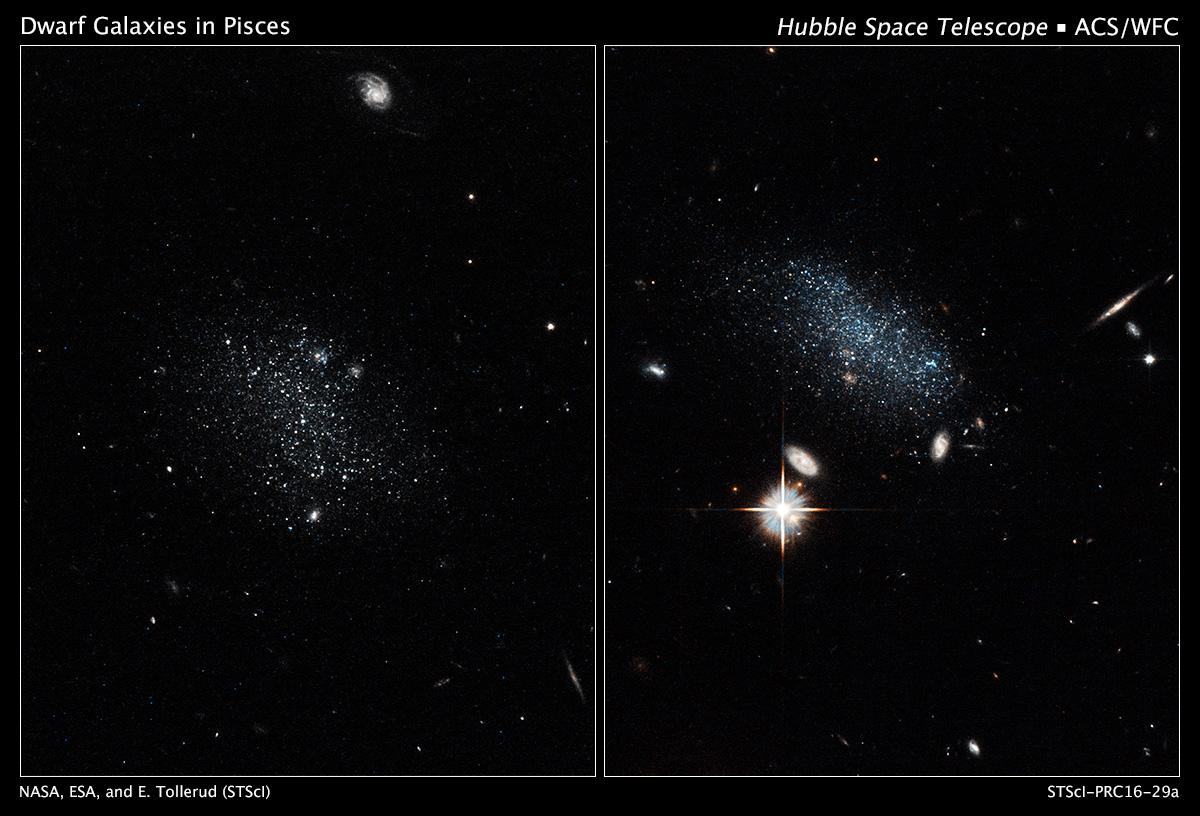 Космический телескоп Хаббл захватил свечение новых звезд в этих маленьких, древних галактиках, которые называются Рыбы А и Рыбы B. Карликовые галактики жили в изоляции на протяжении миллиардов лет, и только сейчас начали формирование звезд. Credits: NASA, ESA, and E. Tollerud (STScI)